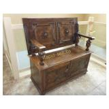 Antique Table Top Monks Bench