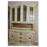 Traditional Style Antique Cream Hutch & Buffet