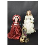 Porcelain Collectible Dolls, Dove & Candle Holder