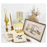 Amber Candle Holders, Vase & Silk Paintings