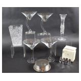 Martini Glasses, Crystal Vase & Coaster Set