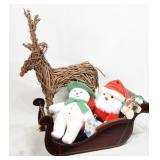 Wood Sleigh, Reindeer & Plush Snowman & Santa