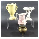 Ceramic Pitcher, Vase & White Cherub Soap Dish