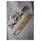 Forever Steel Three Tone Bracelet & Sterling Chain