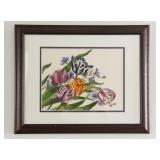 Hand Crafted Needle Point Tulip Artwork