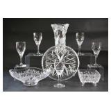 Cut Glass & Crystal Trays, Vase & Black Stem Glass