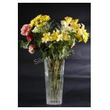 Heavy Clear & Frosted Tall Vase