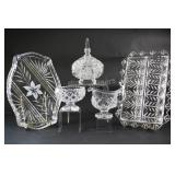 Cut Glass Sets,Trays & Lidded Footed Dish