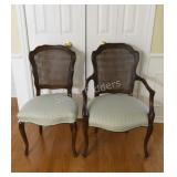 Queen Anne Style Cane Back Occasional Chairs