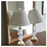 Cut Glass & Brass Column Table Lamp with Finial