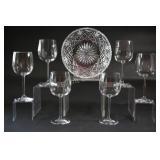 Crystal Cut Glass Bowl & Stemware Glasses