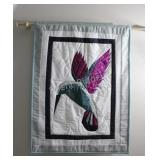 Hand Crafted Patch Quilt Humming Bird Wall Hanging