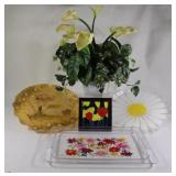 Artificial Floral Greenery & Acrylic Serving Trays
