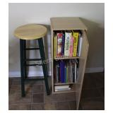 Cook Books in Cabinet with Wood Stool