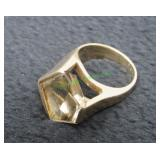 14k Yellow Gold Ring with Pentagon Shaped Gemstone