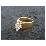 14Kt Yellow Gold Wide Solitaire Ring w/ Diamond-