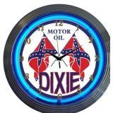 Dixie Motor Oil Neon Clock