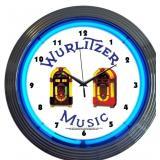 Wurlitzer Blue Jukebox Neon Clock-