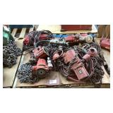 (3) JDN 1 Ton Pneumatic Chain Hoists and Parts