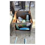 Metal Storage Bin and Contents