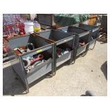 Metal Storage Bins and Contents