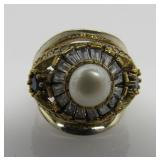 Pearl & White Topaz Ring