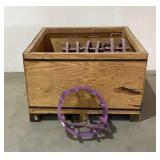 (4) Assorted Pipe Clamps And Wooden Crate