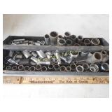 Metal Tool Box Tray Filled w/ Sockets