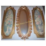 3pc Set Ornate Frame Art &Mirror