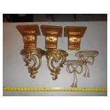7pc Ornate Metal & Plaster Wall Sconce / Shelf