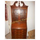 Vintage Wood Serpentine Secretary Hutch / Curio