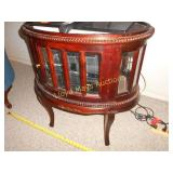 Wood & Bevel Glass Oval Curio Case Table