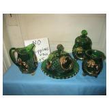 Vintage Green Glass Gold Leaf Table Service Set
