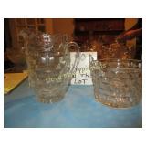 Vintage American Press Glass Pitcher & Ice Bucket