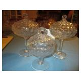 3pc Vintage Diamond Pattern Covered Glass Compotes