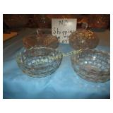 4pc Vintage Press Glass Decor & Service