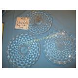 3pc Diamond Pattern Glass Serving Trays