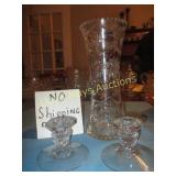 """Cut Crystal 12"""" Vase / Pair of Glass Candle Sticks"""