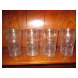 "4pc Set ""1883"" Glass Embossed Milk Tumblers"