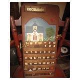 Folk Art Hand Painted Wood Calendar