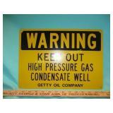 Getty Oil Co. Vintage Pipeline Warning Sign - NOS