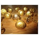 12 Sets Vintage Brass State Seal Cuff Links - NOS
