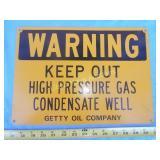 Getty Oil Co. Enamel Metal Gas Well Sign