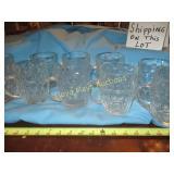 "9pc Set Glass ""Thumbprint"" Vintage Beer Mugs"