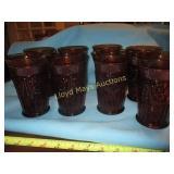 Tiara Mid Century Amber Glass Tumbler Set - 8pc