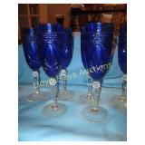 Cut Blue Crystal Champagne Flute Set - 6pc