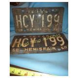 1968 Texas Hemisfair License Plate Set - Original