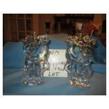 Crystal & Brass Reindeer Candle Holder Pair