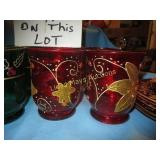 20pc Hand Painted Glass Christmas Party Set