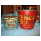 3 Meal & Maxwell House Large Vintage Tins